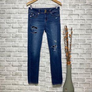 AEO Super Stretch Skinny Distressed Jeans Sz 8
